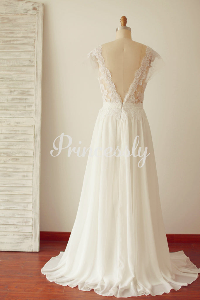 A Line Cap Sleeves Sheer Illusion V Back Lace Chiffon