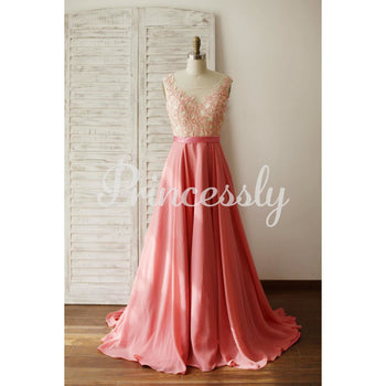 A Line Coral Chiffon Lace Illusion V Back Prom Evening Dress