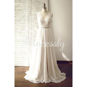 A Line Ivory Lace Chiffon V Neck Wedding Dress with Chapel