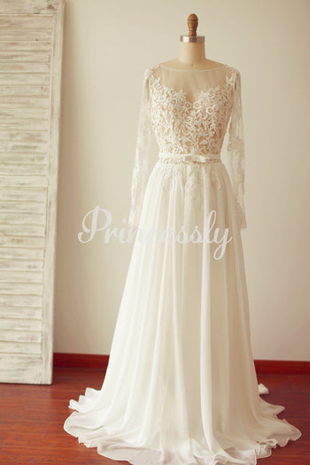A Line Long Sleeves Backless Lace Chiffon Wedding Dress with