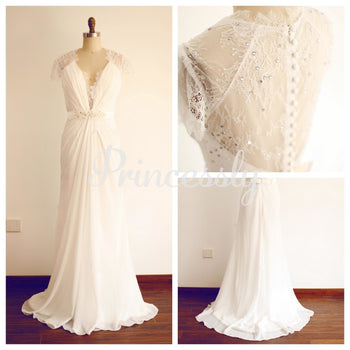A Line V neck Cap Sleeves Beaded Lace Chiffon Wedding Dress