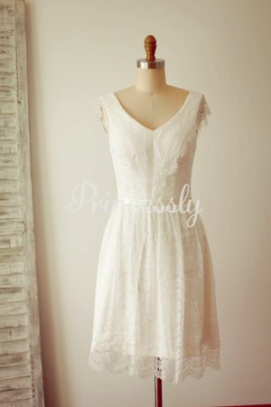 A Line V neck Cap Sleeves Short Knee Length Lace Wedding