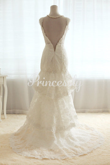 A-line V-neck Drop Waist Open Back Three-tiers Corded Lace