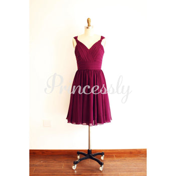 A Line V Neck Plum Purple Short Knee length Chiffon
