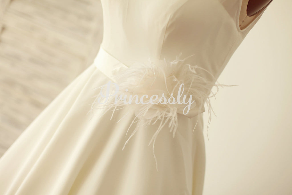 A Line Scoop Neck Chiffon Short Tea Length Wedding Dress