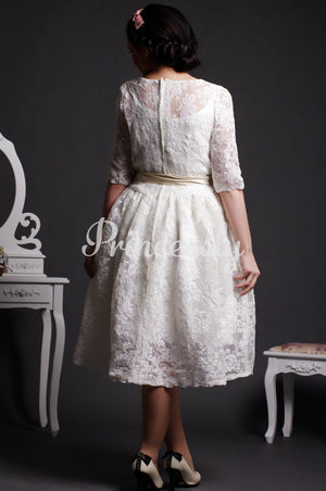 A-line Scoop Neck Half Sleeves Layered Lace Tea Length