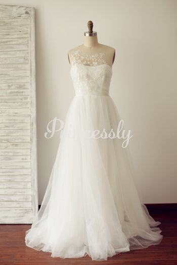 A Line Sheer Illusion Lace Tulle Wedding Dress with Sweep