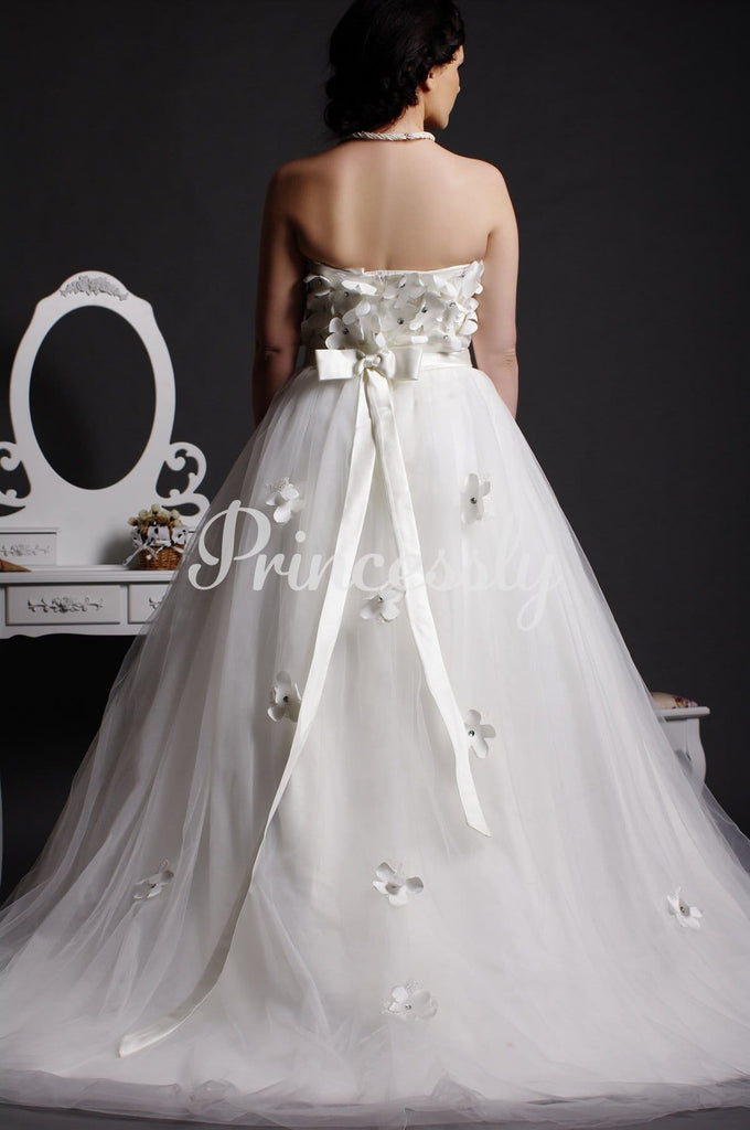 A-line Strapless Crystals Blooms Bodice Layered Court Tulle