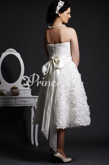 A-line Strapless Sweetheart Rosettes Belted Organza Wedding