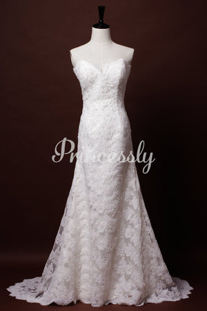 A-line Strapless Sweetheart Scalloped French Corded Lace