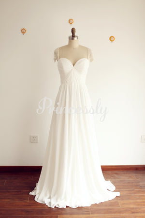 A Line Sweetheart Beaded Cap Sleeves Chiffon Wedding Dress