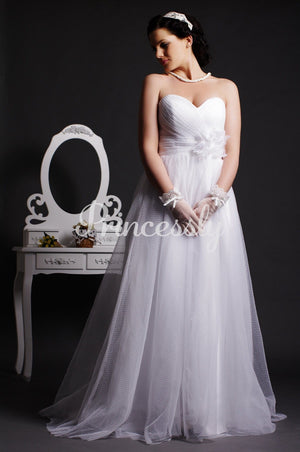 A-line Sweetheart Empire Waist Layered Pleats Sweep Tulle