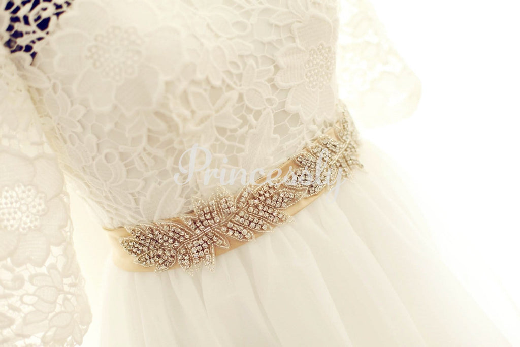 Long Elbow Sleeves Ivory Lace Tulle Wedding Dress with