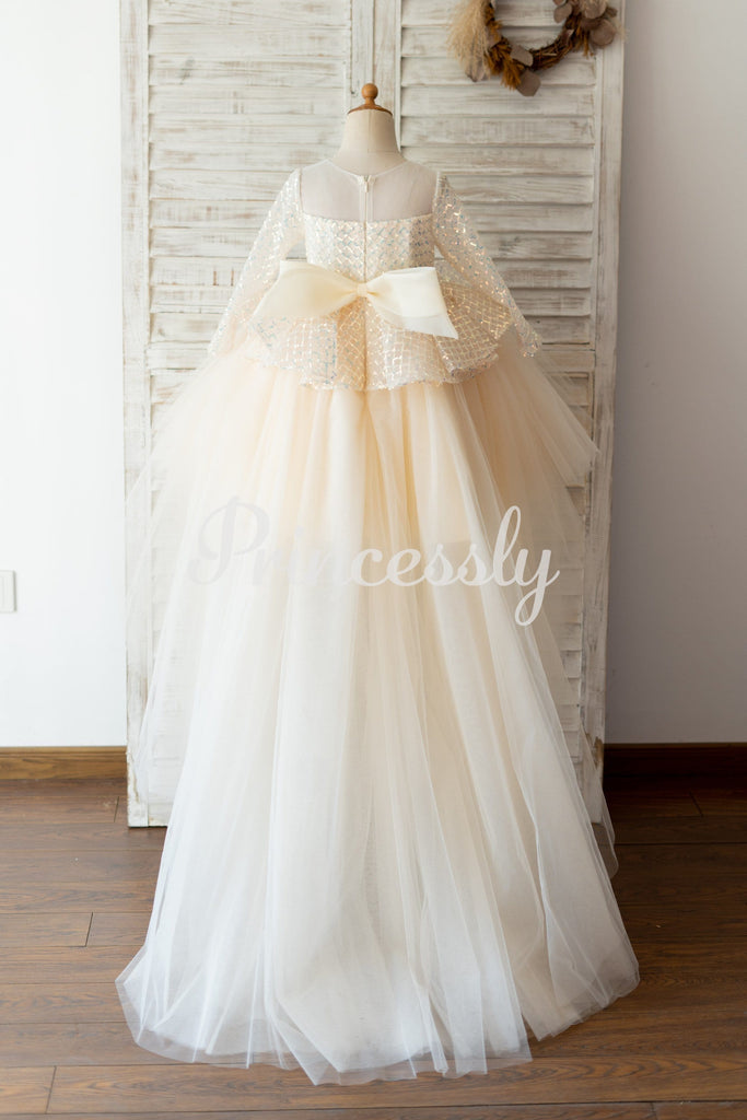 Long Sleeves Champagne Sequin Tulle Hi Low Wedding Flower
