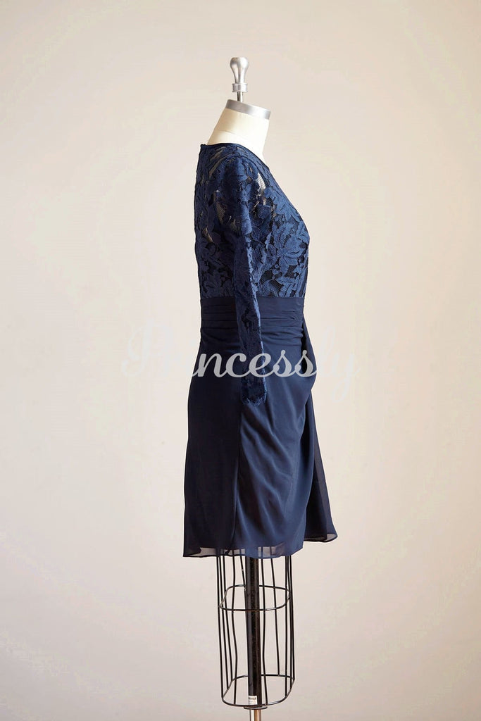 Long Sleeves Navy Blue Chiffon Lace Short Knee Length Mother