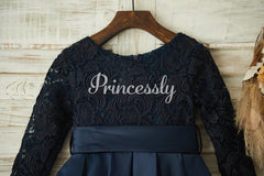Long Sleeves Navy Blue Lace Satin Wedding Flower Girl Dress
