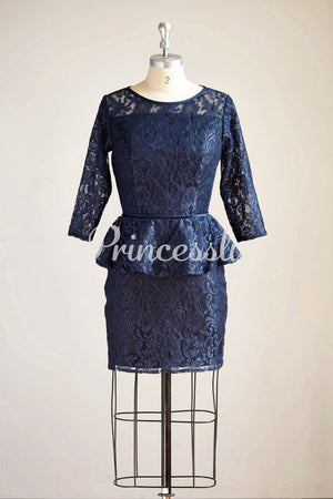 Long Sleeves Navy Blue Lace Short Bridesmaid / Mother Dress