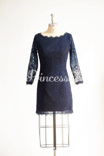 Long Sleeves Navy Blue Lace Short Wedding Bridesmaid Dress /