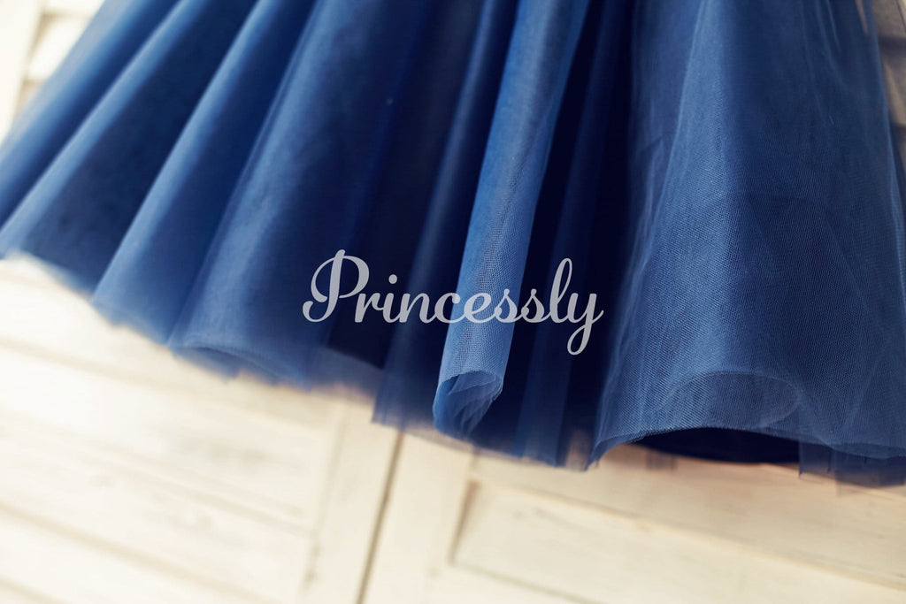 Long Sleeves Navy blue Lace Tulle Flower Girl Dress