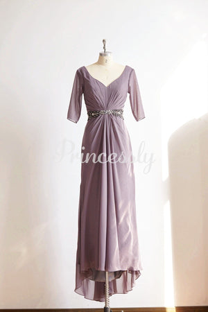 Long Sleeves V Neck Gray Chiffon Wedding Mother dress /