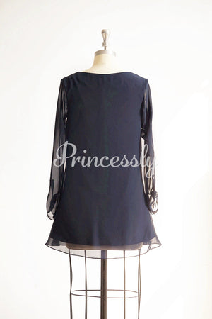 Long Sleeves V Neck Navy Blue Chiffon Short Bridesmaid /