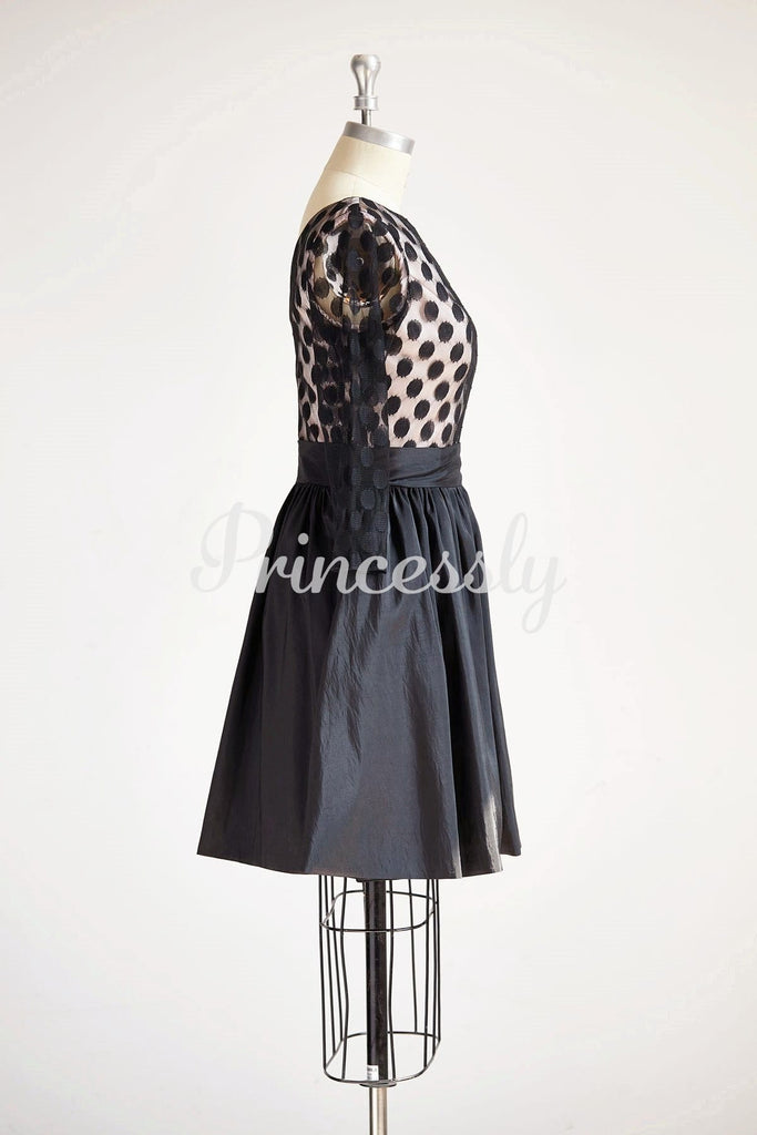 Long Sleeves V Neck Polka Dots Tulle Black Taffeta Short