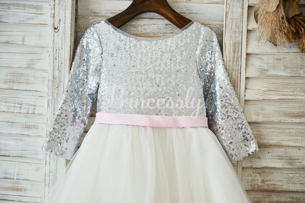 Long Sleeves Silver Sequin Ivory Lace Tulle Deep V Back