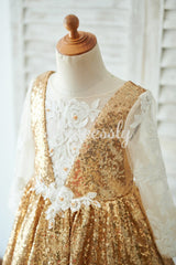 Hi Low Gold Sequin Ivory Lace Tulle Long Sleeves V Neck
