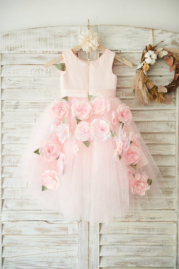 Hi-low Pink Dot Tulle Wedding Flower Girl Dress with 3D