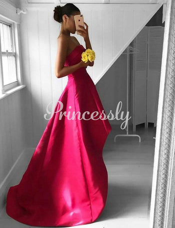 Hi-low Red Satin Strapless Wedding Prom Evening Party Dress