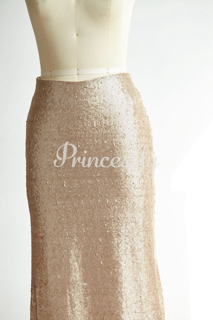 Matte Champagne Gold Long Sequin Fitted Skirt /Wedding