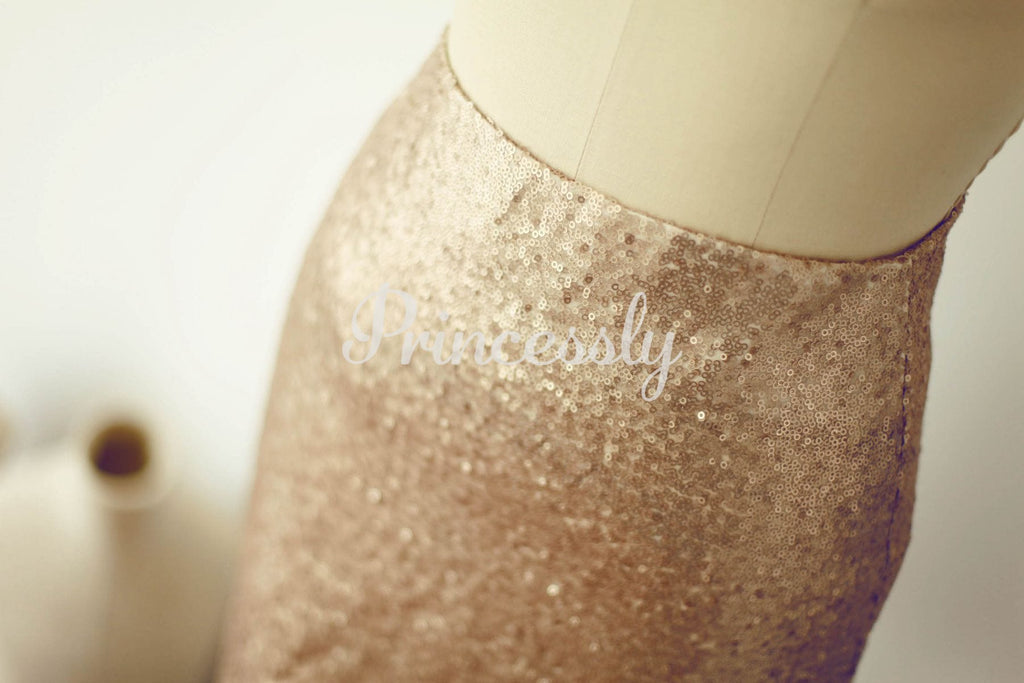 Matte Champagne Gold Sequin Fitted Skirt