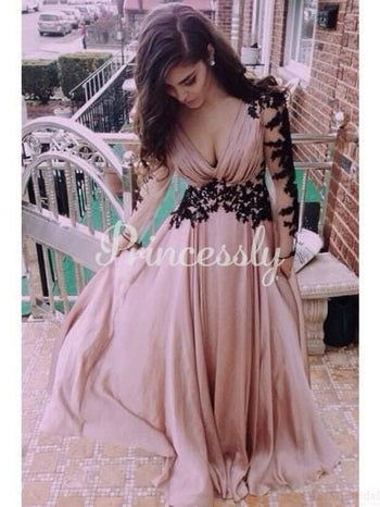Mauve Chiffon Black Lace Long Sleeves V Back Wedding Prom