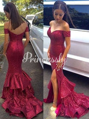 Mermaid Burgundy Sequin Off Shoulder V Back Wedding Prom