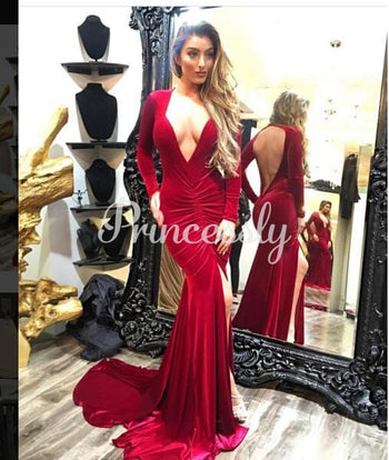 Mermaid Burgundy Velvet V Neck Keyhole Back Wedding Prom