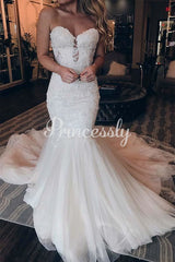 Mermaid Ivory Lace Tulle Sweetheart Neck Wedding Party Dress