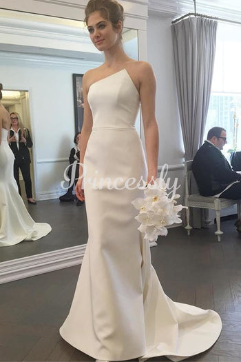 Mermaid Ivory Satin Special Neck Wedding Dress