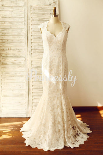 Mermaid Lace Keyhole Wedding Dress with cap sleeves /