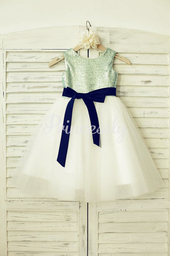 Mint Sequin Ivory Tulle Flower Girl Dress with Navy Blue