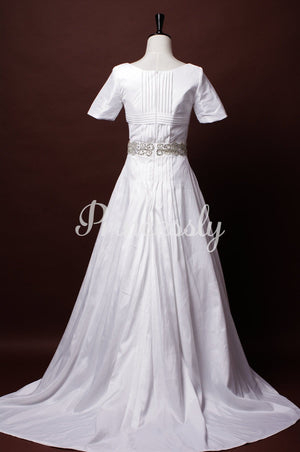 Modest A-line Short Sleeves Scoop Neck Beaded Belt Waist