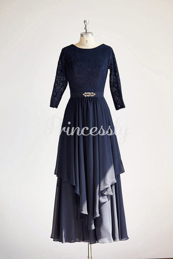 Modest Long Sleeves Navy Blue Lace Chiffon Long Wedding