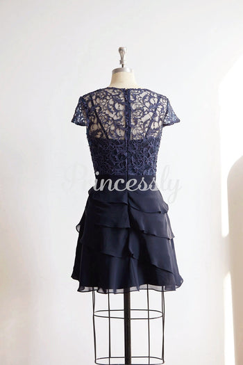 Navy Blue Cap Sleeves Lace Chiffon Wedding Bride Short