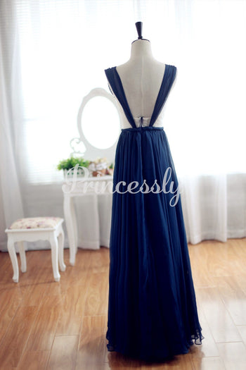 Navy Blue Chiffon Bridesmaid Dress Prom Dress Backless Party