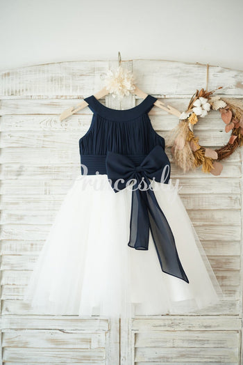 Navy Blue Chiffon Ivory Tulle Halter Neck Wedding Flower