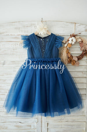Navy Blue Glitter Tulle Cap Sleeves Beaded Wedding Flower