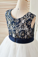 Navy Blue Gold Lace Ivory Tulle Wedding Flower Girl Dress