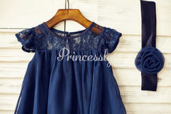 Navy Blue / Ivory / Blush Pink / Grey Lace Chiffon Flower