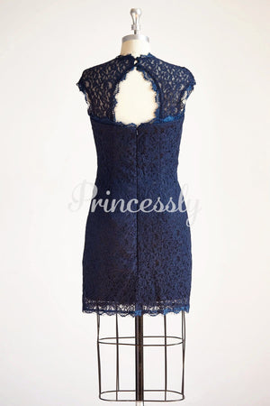 Navy Blue Keyhole Back Lace Short Knee Length Wedding Mother