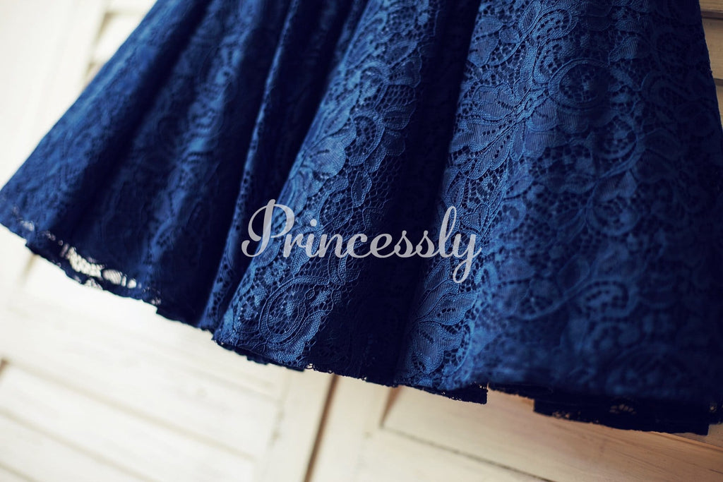 Navy Blue Lace Flower Girl Dress with V back and big bow