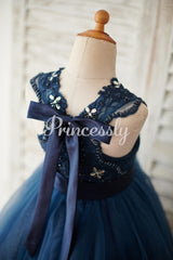 Navy Blue Lace Glitter Tulle Beaded Cross Back Wedding